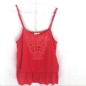 Aerie Red Embroidered Camisole Top Size Medium